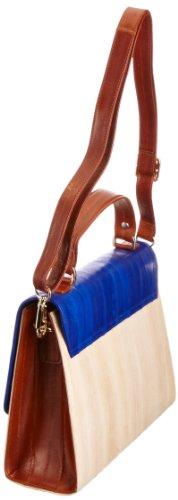 Makki Liberte Satchel 1, Borsa Donna Blu (Cream/Tan/Blue)