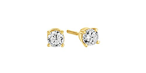 0.2 Ct Diamond Earrings - 14K Solid Yellow Gold Natural Diamond Solitaire Stud Earrings With Screw Back (0.2 Ct)