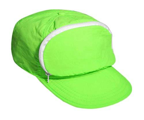 Cap-sac Nylon Cap with Zipper Pocket W/Hook and Loop Closure. Green. One Size. -