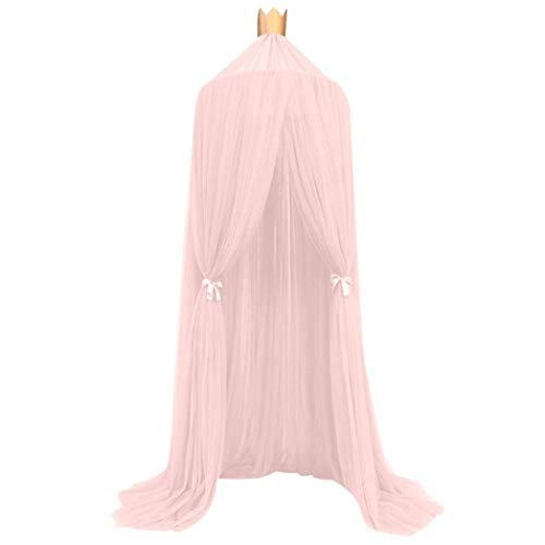 Canopy Newborn Beds - Bed Canopy Mosquito Net for Kids, Iuhan Mosquito Net Bed Canopy Yarn Play Tent Bedding for Kids Playing Reading with Children Round Lace Dome Netting Curtains Baby Boys and Girls Games House (Pink)