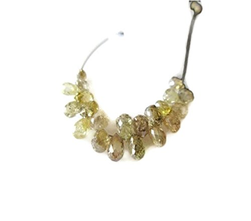 5 Pieces Natural Clear Golden Yellow Diamond Briolette Beads, Yellow Diamond Faceted Tear Drop Beads, DDS476