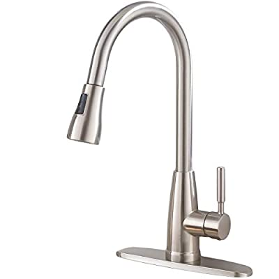 Commercial Stainless Steel Single Handle Pull Down Sprayer Kitchen Faucet, Brushed Nickel Kitchen Sink Faucet With Deck Plate
