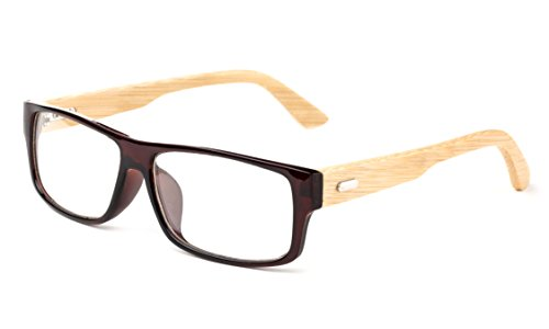 Newbee Fashion - Kayden Retro Unisex Plastic Fashion Clear Lens Glasses Bamboo Brown
