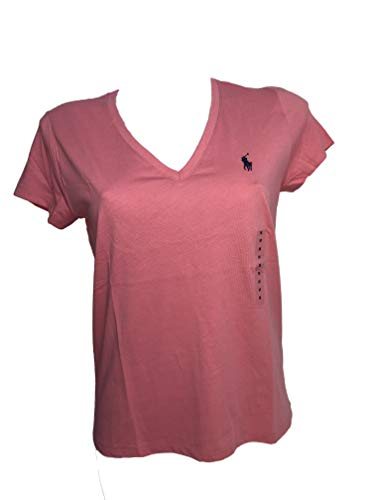 Polo Ralph Lauren Womens Pony Logo V-Neck T-Shirt (Medium, Coral Pink (Navy Pony)) - Navy Seal Embroidered T-shirt