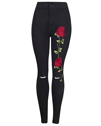 Pantaloni Strappati Logoro Dritti Denim Nero Sottile Jeans Ricamato Stiramento Elasticità Donna wHYq6xfY