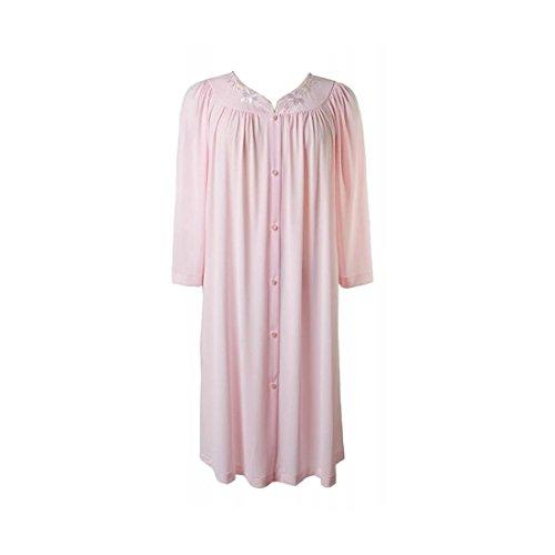 Miss Elaine New Seafoam/Pink Short Button Nylon Robe - 1XL ()
