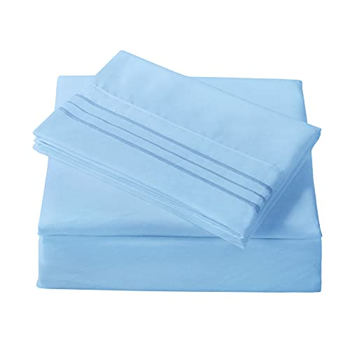 Bed Sheet Sets Double Full Size - 4 Piece - 1800 Thread Count Brushed Microfiber Bedding Sheets with Deep Pockets -Wrinkle/Fade/Stain Resistant (Blue, Full)