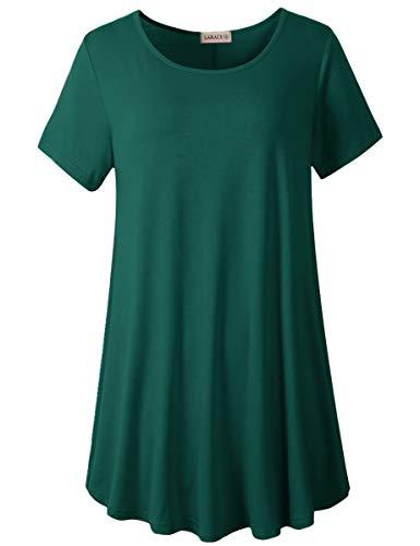 LARACE Women Plus Size Swing Tunic Top Short Sleeves T-Shirt(5X, Dark Green)