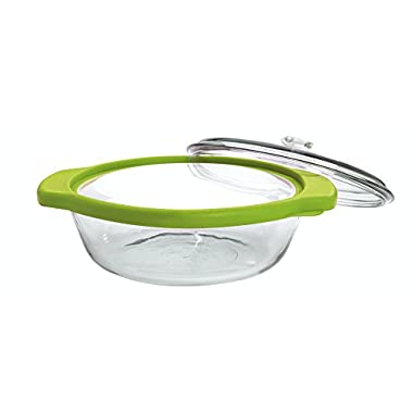 Anchor Hocking TrueFit Bakeware Glass Casserole Dish with Cover and Storage Lid, Green, 3-Piece Set