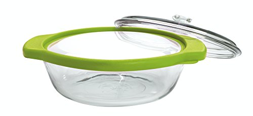 Glass Casserole Lid - Anchor Hocking TrueFit Bakeware Glass Casserole Dish with Cover and Storage Lid, Green, 3-Piece Set