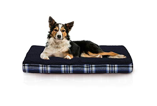 FurHaven Pet Dog Bed | Deluxe Orthopedic Terry & Plaid Flannel Mattress Pet Bed for Dogs & Cats, Midnight Blue, Medium (Renewed)