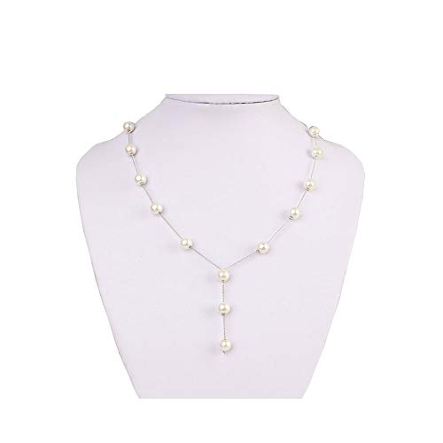 - JczR.Y Tin Cup Station 14K Gold Chain Necklace Cultured Freshwater White Pearl Jewelry for Women(Silver)