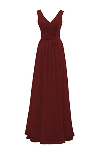 YORFORMALS V-Neck Chiffon Plus Size Bridesmaid Dress Long Formal Evening Party Gown Ruched Bodice Size 24 Burgundy