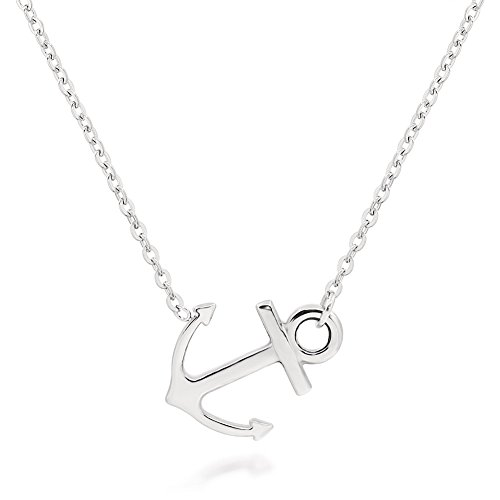 ELBLUVF 18k Silver Gold Rose Gold Plated Stainless Steel Women Sideways Anchor Pendant Necklace 18inches Choose Colors ()