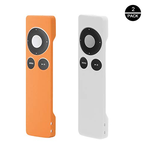 Rukoy Protective Case for Apple TV 2 3 Remote Controller(2 Pack: White+Orange), Light Weight and Shock Proof Silicone Remote Case with Hand Strap