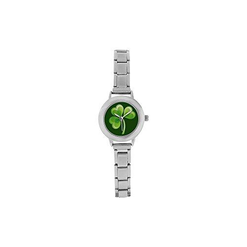 Special Design Irish Shamrock Clover Pattern, Lucky St. Patrick's Day Gift Round Italian Charm Watch