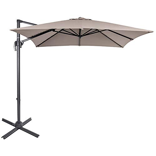 Sundale Outdoor 8.2ft Square Offset Hanging Umbrella Market Patio Umbrella Aluminum Cantilever Pole with Crank Lift, Corss Frame, Polyester Canopy, 360°Rotation, for Garden, Deck, Backyard (Tan) ()