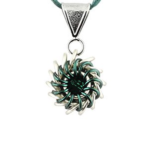 Green Crystal Chain - Weave Got Maille Teal Whirlybird Chain Necklace Kit with Swarovski Crystal