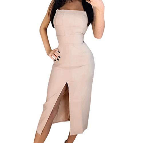 Women's Suspender Dress Sleeveless Strap Belted Wrap Split Hem Holiday Party Sundress Bohemian ()