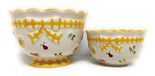 Temp-tations Gingham Garden Nesting Bowls, 3 qt & 1 qt, Bake & Serve - Yellow U112 ()