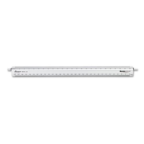 "Adjustable Triangular Scale Aluminum Engineers Ruler, 12"""", Silver, Sold as 1 Each"