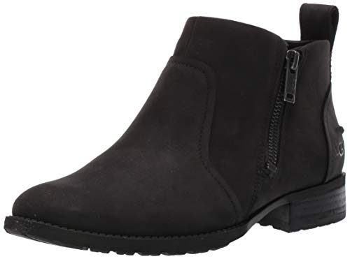 UGG Women's AUREO II Ankle Boot, Black Leather, 7.5 M US