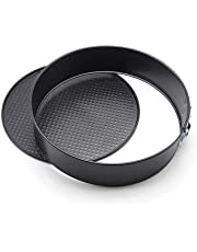 Springform Cake Pan 10 Inch Cheesecake Mold - V-Fyee Non-Stick Leakproof Round Bakware with Removable Bottom, Black