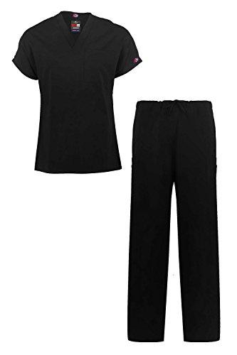 MediFit Men's Basic Solid Two Piece Medical Top & Pants Scrub Set(MENSET-MED,BLK-L)