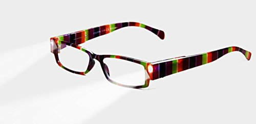 EVIDECO LED Reading Glasses with Light, LG Rainbow Optic By Finess Power +3