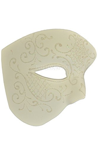 NEW Laser Cut Phantom Of the Opera Masquerade Halloween Ballroom Mask - Elegantly Detailed and Decorated Ceramic White w/ Glitter Lining ()