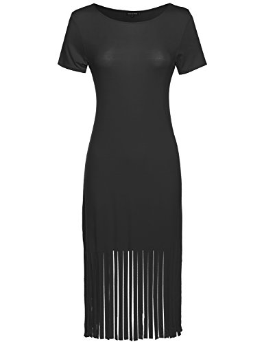 Made by Emma Short Sleeve Midi Dress w/Fringe Black S Size
