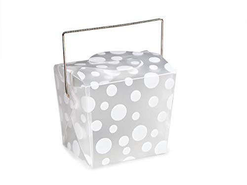 Frosted Dots Take Out Box - Take Out Frosted Pails - White Dots Take Out Boxes Small 2-3/4x2x2-1/2 (5 Packs; 12 Pails Per Pack) - WRAPS-1180WD