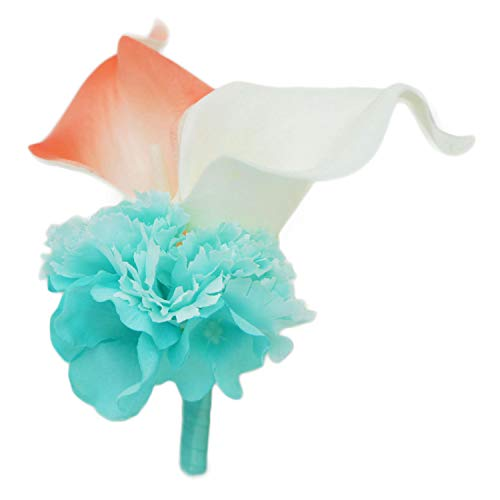 Lily Garden Real Touch Two Calla Lily Boutonniere Corsage Customize (White and Coral)