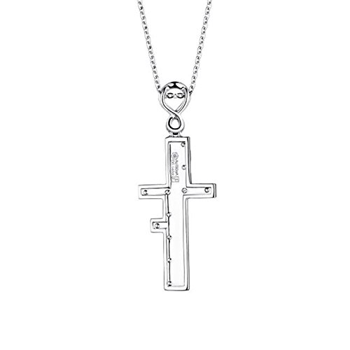 Beydodo Women Necklace,18k Real White Gold 2.44g Cross ''Love Forever'' Round Brilliant Diamond Necklace by  (Image #2)