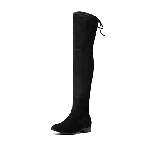 (Over Knee Boots Square Med Heel Women Boots Sexy Ladies Lace Up Stretch Fabric Fashion Boots )