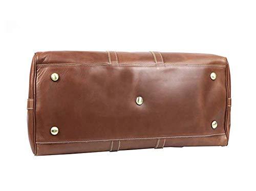 Portátil De Hombro Para Lona Gran Capacidad Bolso Vintage Hombres Viaje marrón Pulgadas Cuero Fzyqy 25 Pf1q5