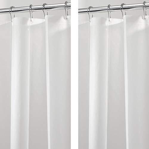 - mDesign PEVA 3G Shower Curtain Liner (Pack of 2), Eco Friendly, Mold & Mildew Resistant, Odorless - No Chemical Smell, Long 72