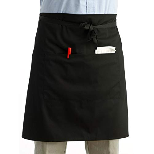 Pixnor Universal Unisex Women Men Kitchen Cooking Waist Apron Short Apron Waiter Apron with Double -