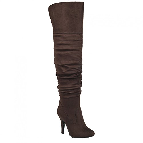 Guilty Shoes - Women's Fashion Stylish Pull on Over Knee High Sexy Boots, Brown Suede, 10 (Heel Sexy Brown High)