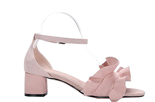 Buckle Calaier Women Toe Sandalias Round Rosa Zapatos 4CM Catxau Heel Block STqS0Z