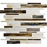 DHOKAS MOSAIC Matchstix Mockingbird 12 in. x 12 in. x 3 mm Glass Floor and Wall Tile Stained glass for Kitchen Backsplashes, Bathroom Walls, Spas, Pools by DHokas Mosaic (10 Pcs)