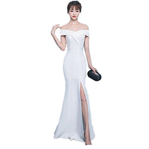Women`s Cotylédons Sirène Robe De Soirée Robe Épaules Construit En Soutien-gorge Slim Fit Blanc