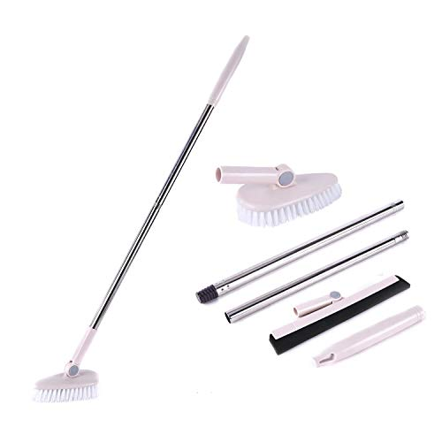 - Floor Scrub Brush Removable Adjustable Long Handle -Tile/ Tub / Bathroom / wall / Recesses and Grout Brush Scrubber with Stiff Bristle Sturdy and Durable