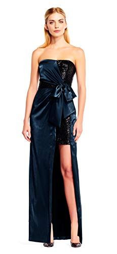 Aidan Mattox Womens Strapless Full-Length Special Occasion Dress Blue 2