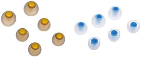P Prettyia 3.8mmシリコーンインイヤーイヤホンカバーイヤフォンのヒント6組の職業耳を保護する職業(青+黄)