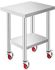 Mophorn Stainless Steel Work Table with 4 Wheels and Adjustable Shelf Commercial Food Prep Worktable with Brake for Kitchen Prep Work