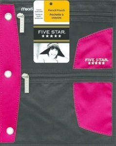 Mead Five Star 3 Zippered Security Pockets Pouch for All Sta