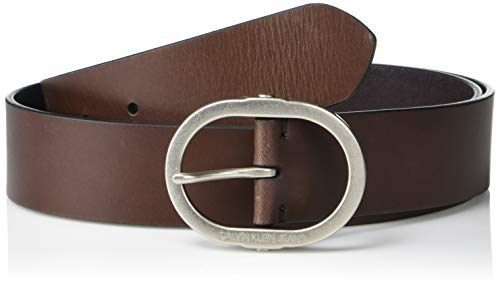 Calvin Klein Women's Jeans Leather Belt with Center Bar Buckle