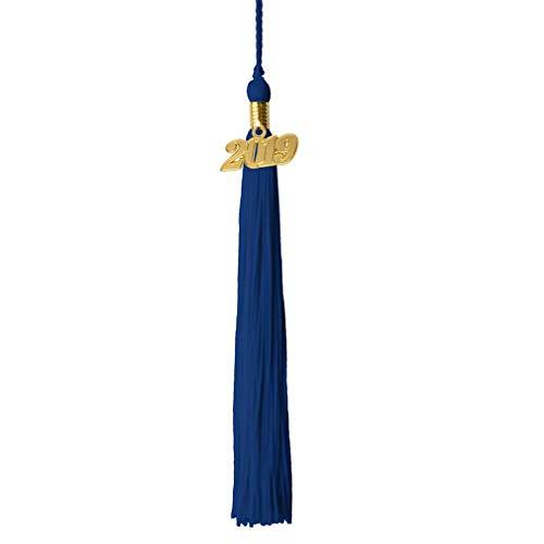 GraduationRoyal 9 inch Graduation Tassel with Gold 2019/2018 Year Charm (2019, Royal Blue)]()