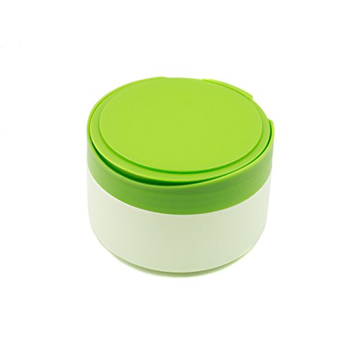 1 Pcs Portable Plastic Baby Skin Care Baby Powder Puff Box Holder Container Talcum Powder Case Jar Pot with Powder Puff and Sieve Tray(Green)